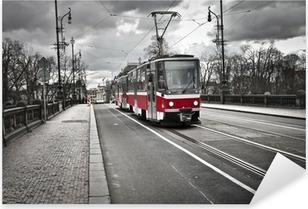 Pixerstick Sticker Tram in de stad Praag