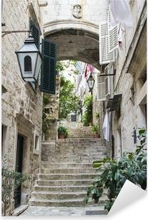 Pixerstick Sticker Trappen in de Oude Stad van Dubrovnik