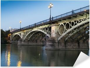 Pixerstick Sticker Triana Bridge, de oudste brug van Sevilla bij schemering