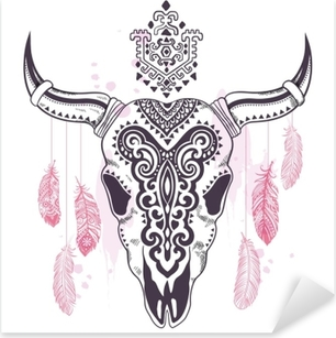 Tribal animal skull illustration with ethnic ornaments Pixerstick Sticker