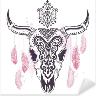 Pixerstick Sticker Tribal dierlijke schedel illustratie met etnische versieringen