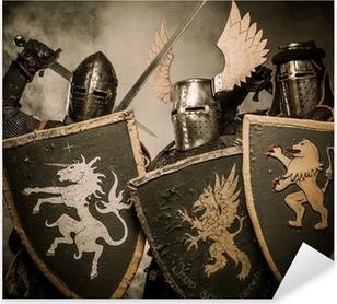 Sticker Pixerstick Trois chevaliers médiévaux