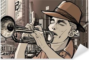 Pixerstick Sticker Trompettist in new-york
