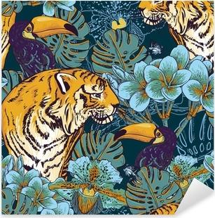 Sticker Pixerstick Tropical fond floral avec Tiger