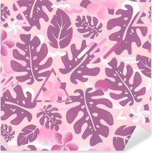 Sticker Pixerstick Tropical hipster jungle feuille de palmier seamless pattern rose