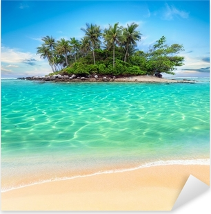 Tropical island and sand beach exotic travel background Pixerstick Sticker