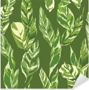 Tropical Leaves Background - Vintage Seamless Pattern Pixerstick Sticker