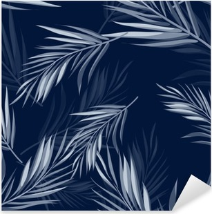 Tropical seamless monochrome blue indigo camouflage background with leaves and flowers Pixerstick Sticker