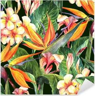 Tropical seamless pattern with exotic flowers Pixerstick Sticker
