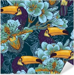 Pixerstick Sticker Tropische naadloze parrern met bloemen en Toucan