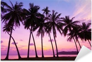 Pixerstick Sticker Tropische zonsondergang over zee met palmbomen, Thailand