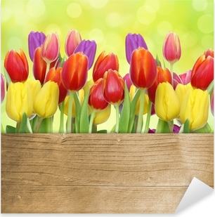 Sticker Pixerstick Tulipes avec panneau de bois