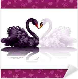 Pixerstick Sticker Twee bevallige zwanen in de liefde: zwart-wit hart