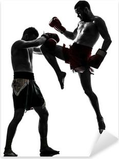 Pixerstick Sticker Twee mannen te oefenen boksen thai silhouet