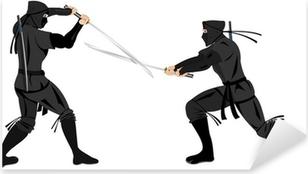 Pixerstick Sticker Twee ninja's vechten met katana