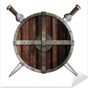 Pixerstick Sticker Twee zwaarden achter houten ronde schild geïsoleerd