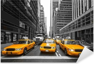 Pixerstick Sticker TYellow taxi's in New York City, Verenigde Staten.