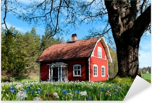 Typisches rotes Holzhaus in Schweden Pixerstick Sticker