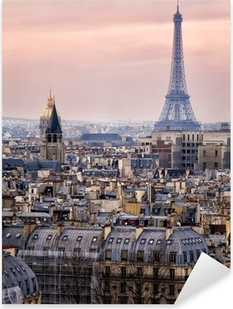 Pixerstick Sticker Uitzicht over Parijs en de Eiffeltoren van Boven