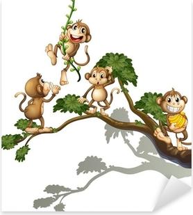 Sticker Pixerstick Un arbre avec quatre singes