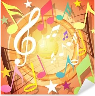 Sticker Pixerstick Un fond coloré notes de musique