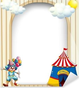 Sticker Pixerstick Un modèle vide avec une tente de cirque et de clown mâle un