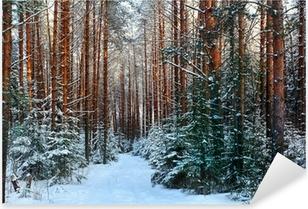 Sticker Pixerstick Une forêt de pins, hiver, neige