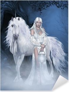 Unicorn and beautiful Fairy Pixerstick Sticker