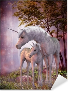Unicorn Mare and Foal Pixerstick Sticker