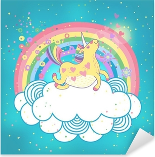 Unicorn rainbow in the clouds Pixerstick Sticker