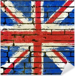 Pixerstick Sticker Union Jack op een bakstenen muur achtergrond