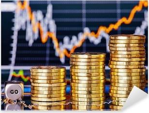 Pixerstick Sticker Uptrend stapels munten, dobbelstenen kubus met het woord GO op de financ