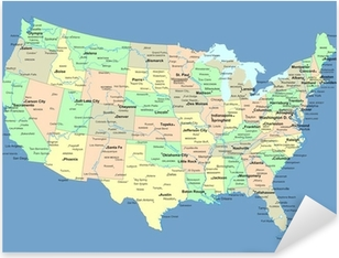 USA map with names of states and cities Pixerstick Sticker
