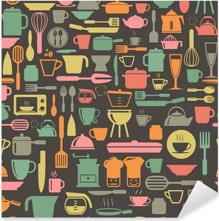 Sticker Pixerstick Ustensiles de cuisine, seamless, avec rétro couleur, format vectoriel