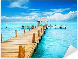 Sticker Pixerstick Vacances à Tropic Paradise. Jetée sur Isla Mujeres, Mexique
