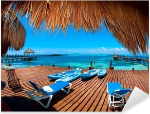 Vacation in Tropic Paradise. Isla Mujeres, Mexico Pixerstick Sticker