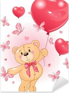 Sticker Pixerstick Valentine Teddy