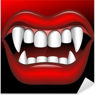 Pixerstick Sticker Vampire Mouth Fierce Halloween-Bocca di Vampiro Feroce-Vector