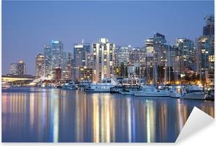 Sticker Pixerstick Vancouver skyline at night