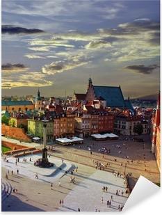 Sticker Pixerstick Varsovie place du château et le coucher du soleil
