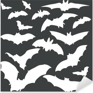 Sticker Pixerstick Vecteur chauves-souris blanches silhouettes sur fond sombre