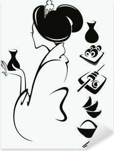 Sticker Pixerstick Vecteur d'image d'une jeune fille japonaise avec la nourriture traditionnelle