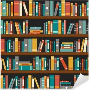 Sticker Pixerstick Vecteur de livres de bibliothèque étagère fond