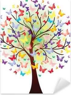 Sticker Pixerstick Vector bel arbre de printemps, composée de papillons