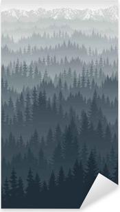 Pixerstick Sticker Vector bergen bos met mist achtergrond textuur naadloze patroon