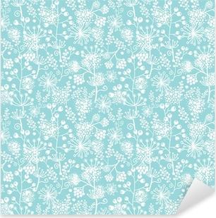 Pixerstick Sticker Vector blauwe en witte kant tuinplanten naadloos patroon