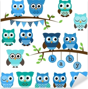 Vector Collection of Boy Baby Shower Themed Owls and Branches Pixerstick Sticker