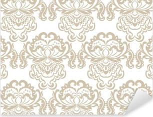 Vector floral damask baroque ornament pattern element. Elegant luxury texture for textile, fabrics or wallpapers backgrounds. Beige color Pixerstick Sticker