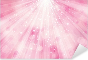 Vector glitter pink background with rays of lights and stars. Pixerstick Sticker
