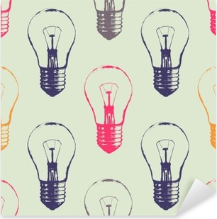 Vector grunge seamless pattern with light bulbs. Modern hipster sketch style. Idea and creative thinking concept. Pixerstick Sticker